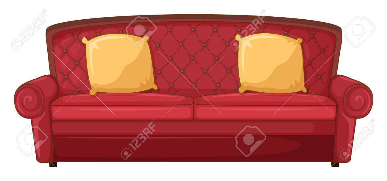 Illustration of a red sofa and yellow cushion on a white Stock Vector - 17082507
