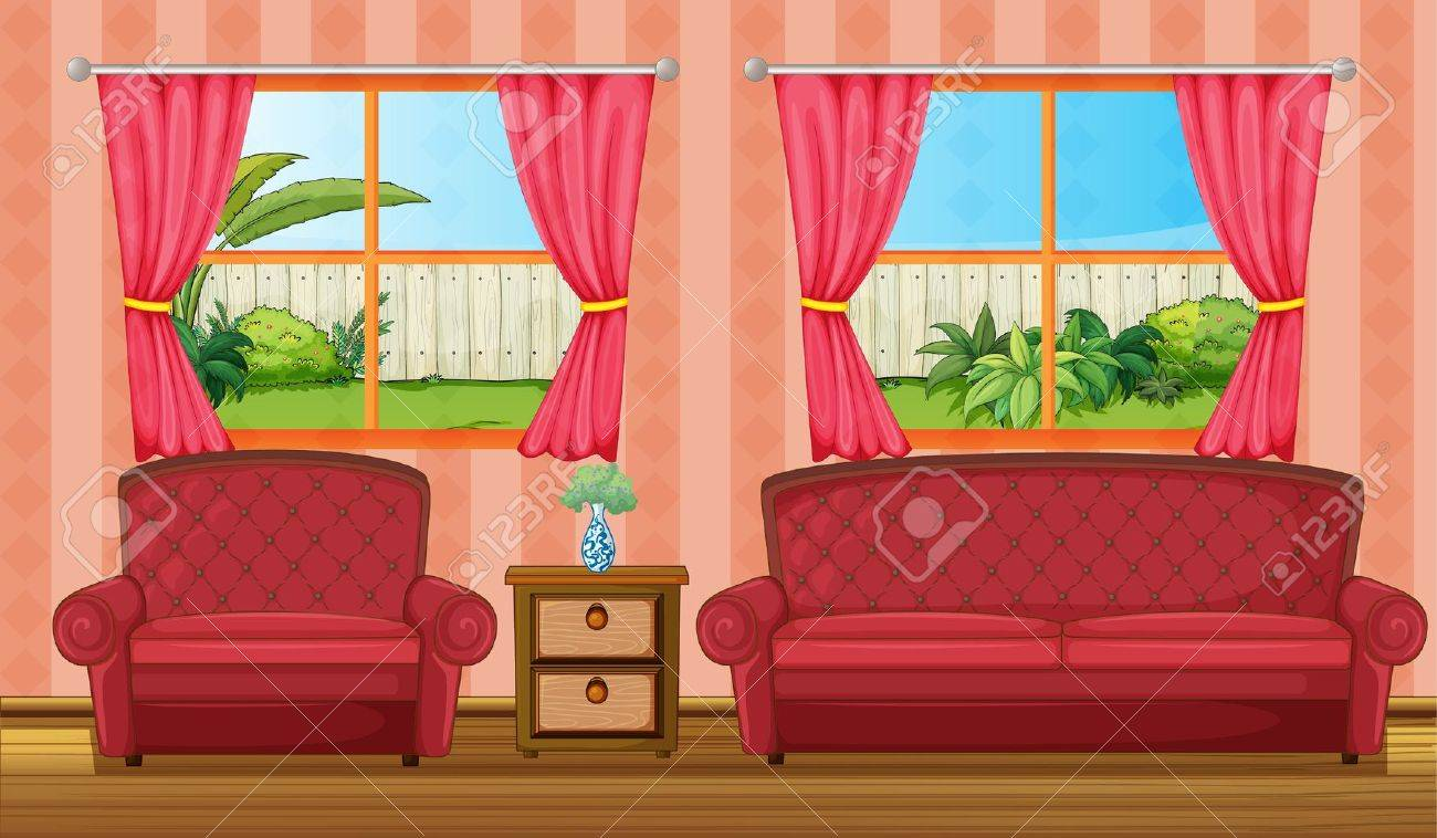 Illustration of a red sofaset and side table in a room Stock Vector - 17082768