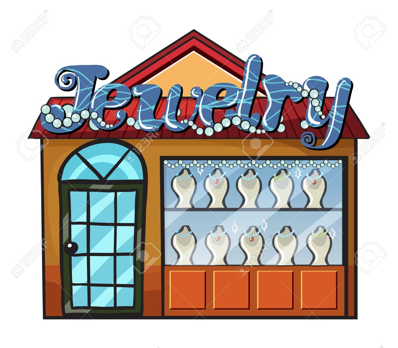 Illustration of a jewelry shop on a white background Stock Vector - 17082546