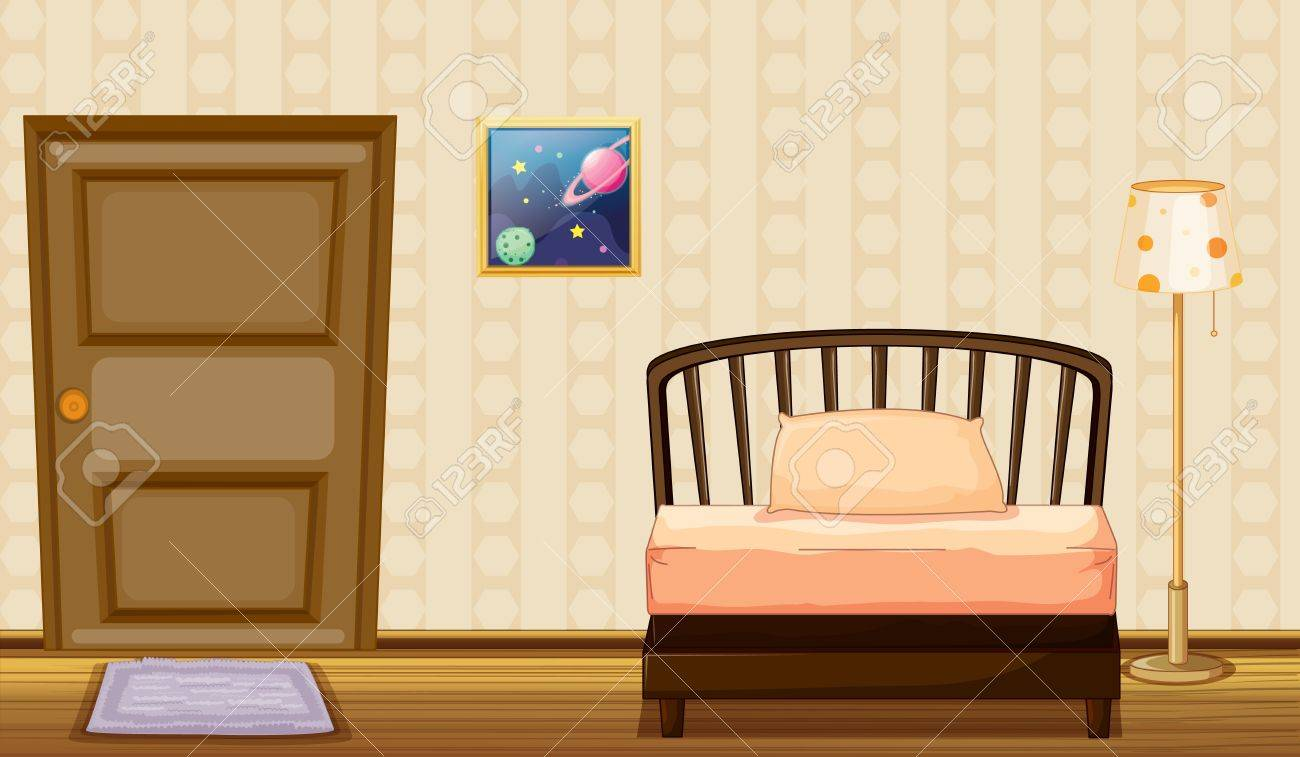 Illustration of a bed and a lamp in a room Stock Vector - 17100521