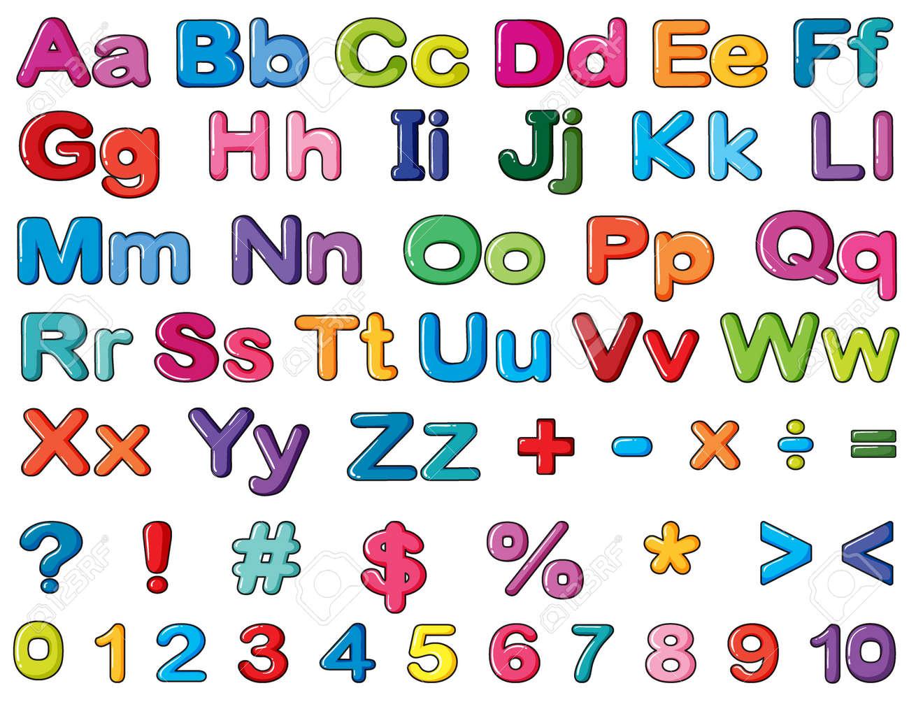 アルファベットと数字の白い背景のイラストのイラスト素材ベクタ