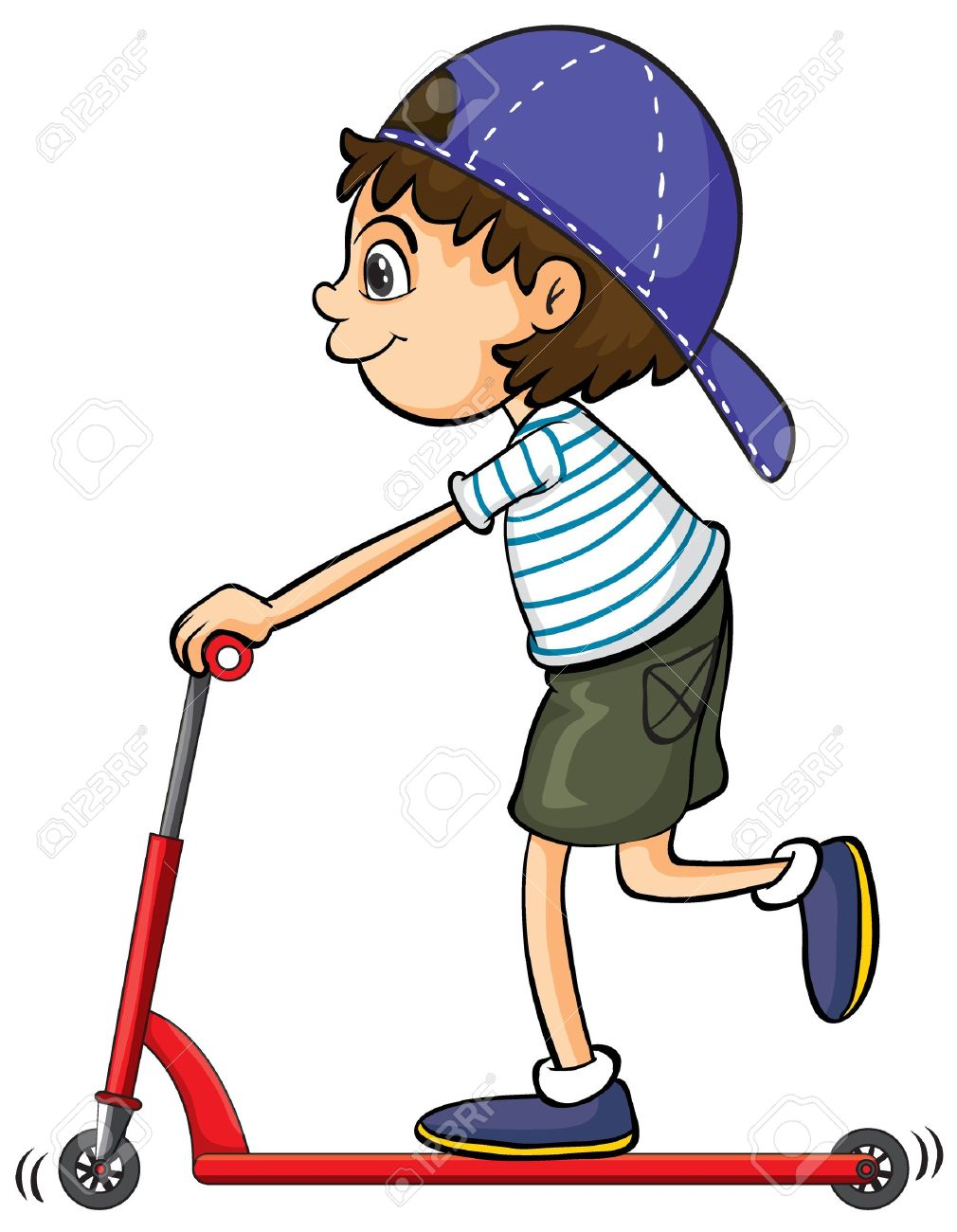 Illustration of a boy playing push bicycle on a white background Stock Vector - 17100329