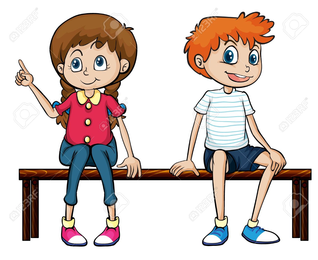 Illustration Of A Boy And A Girl Sitting On A Bench On A White