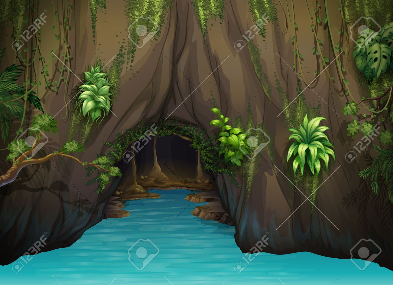Illustration of a cave and water in a beautiful nature Stock Vector - 17100649