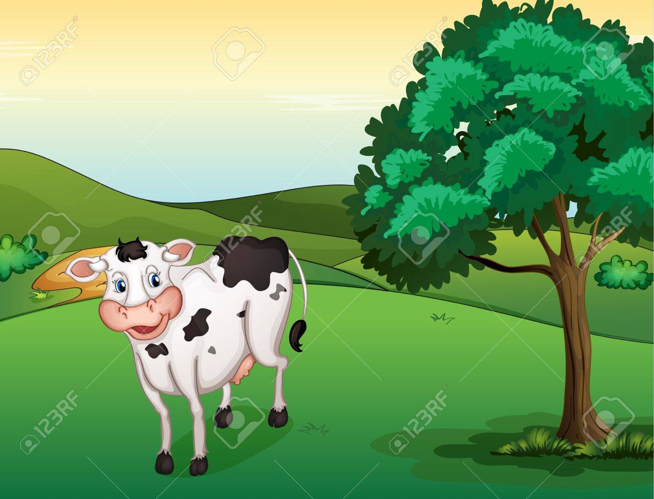 Illustration of a smiling cow in a beautiful nature Stock Vector - 17100420