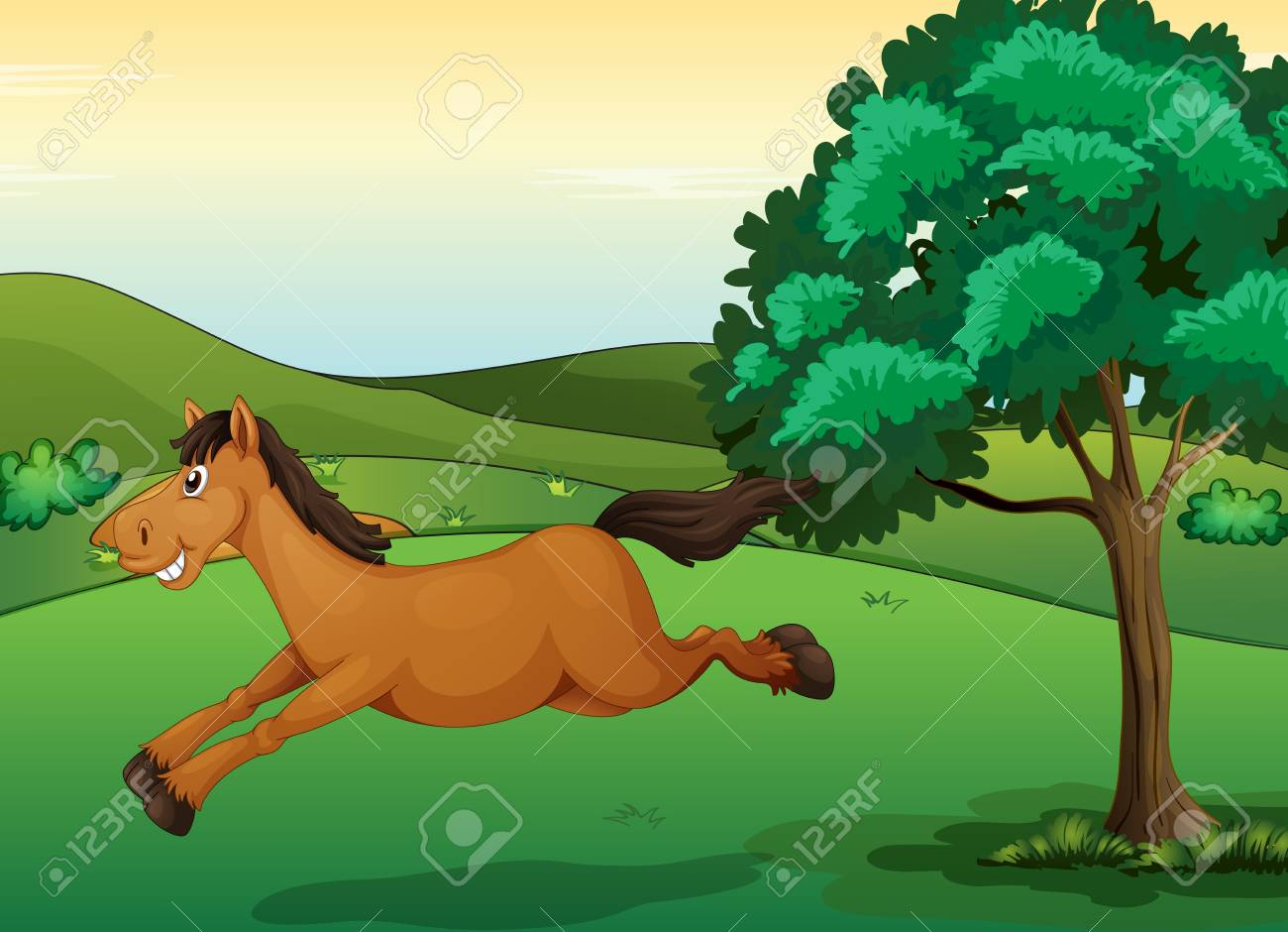 Illustration of a smiling horse in a beautiful nature Stock Vector - 17100526