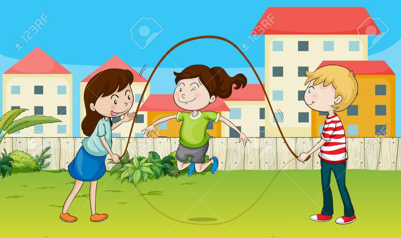 Illustration of kids playing rope in a beautiful nature Stock Vector - 17100529