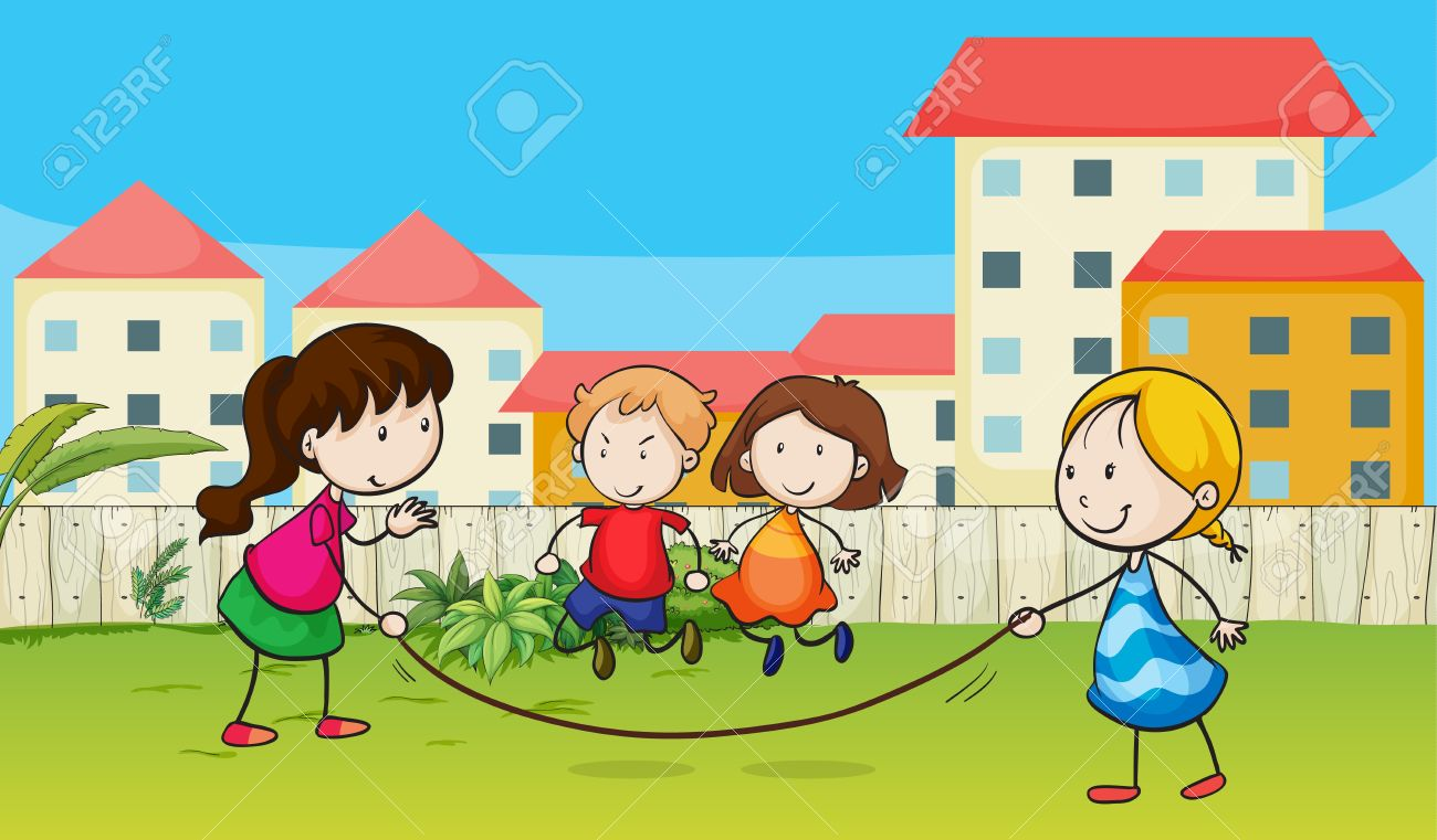 Illustration of kids playing rope in a beautiful garden Stock Vector - 17161691