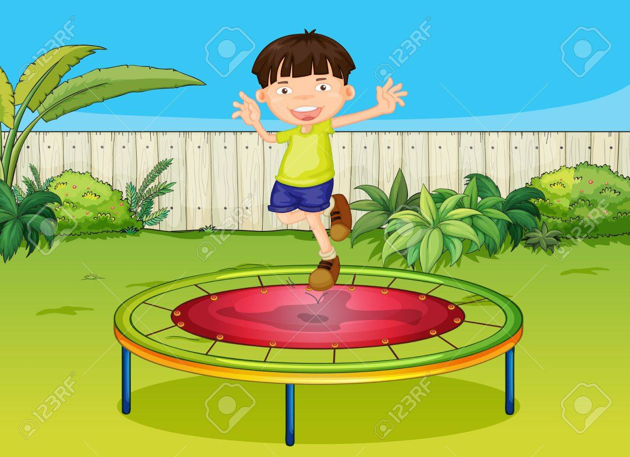 Illustration of a boy jumoing on a trampoline in a beautiful garden Stock Vector - 17161740
