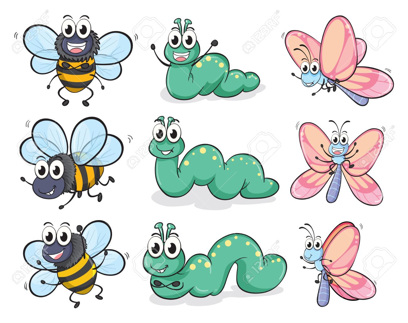 Illustration of a caterpillar, a butterfly and a bee on a white background Stock Vector - 17161603