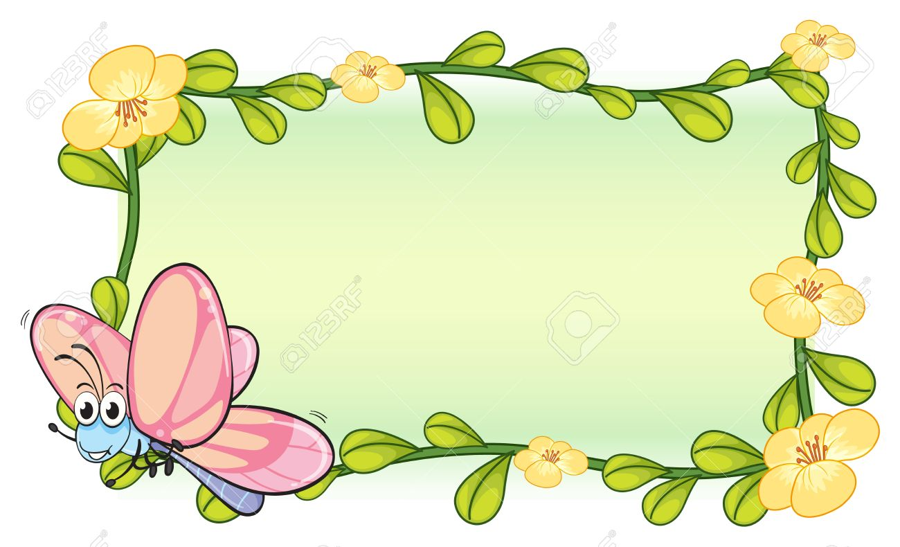 illustration of a butterfly and a flower frame on a white background stock vector 17161675