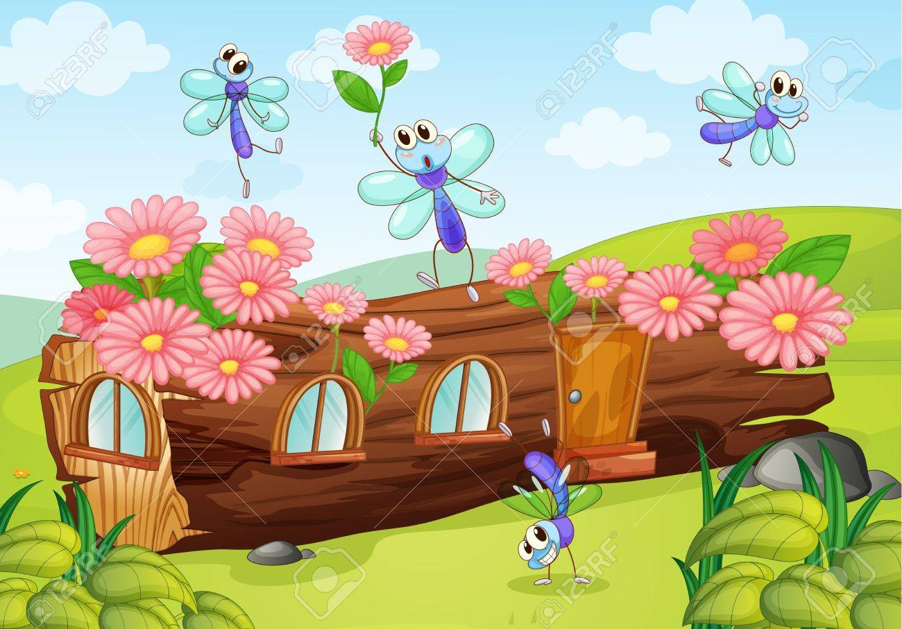 Illustration of flies and a wood house on a white background Stock Vector - 17161873