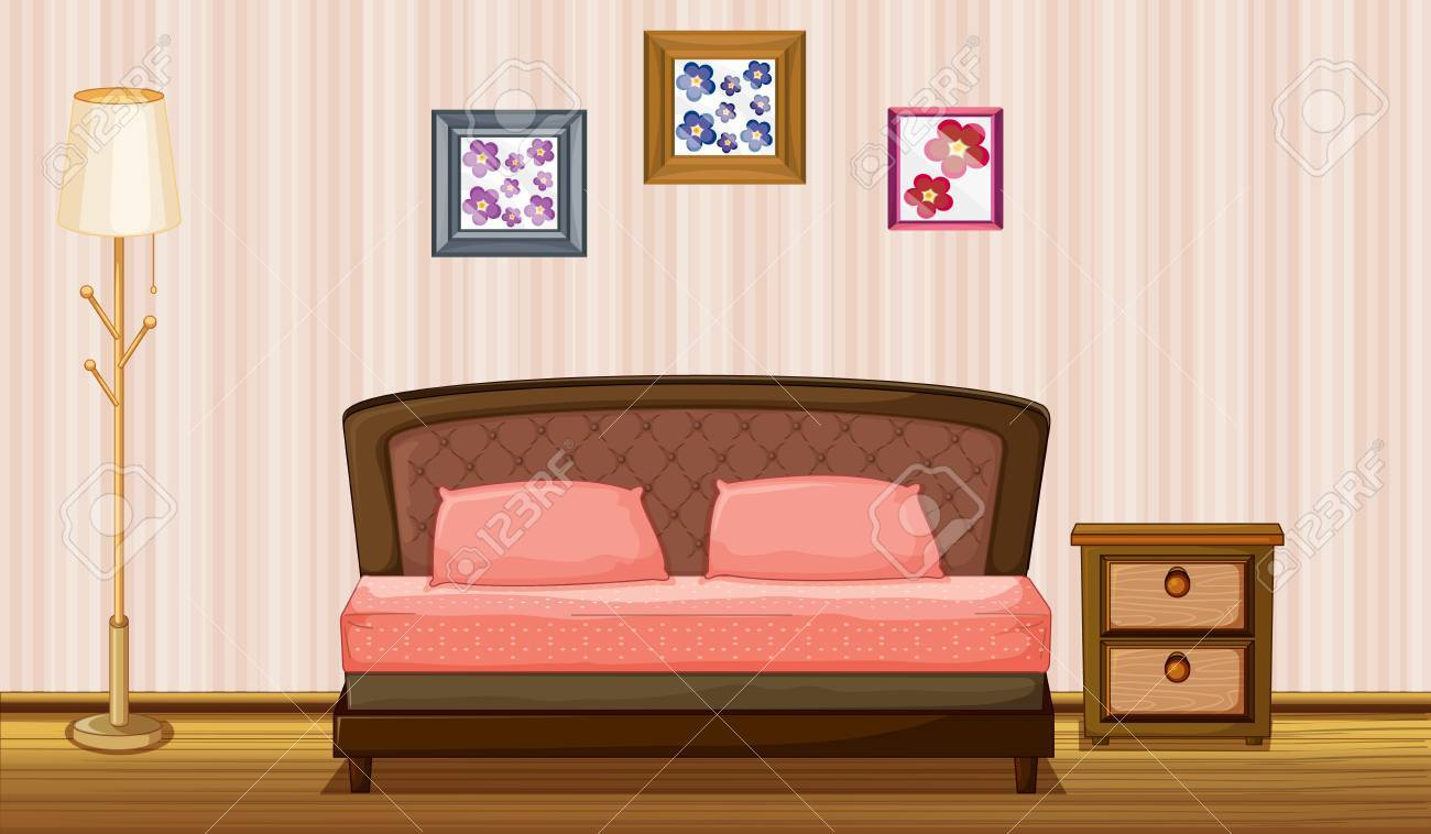 Illustration of a bed and a lamp in a room Stock Vector - 17161649