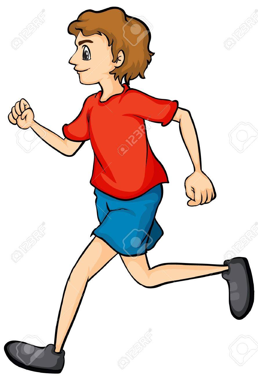 Illustration of a boy running on a white background Stock Vector - 17161129