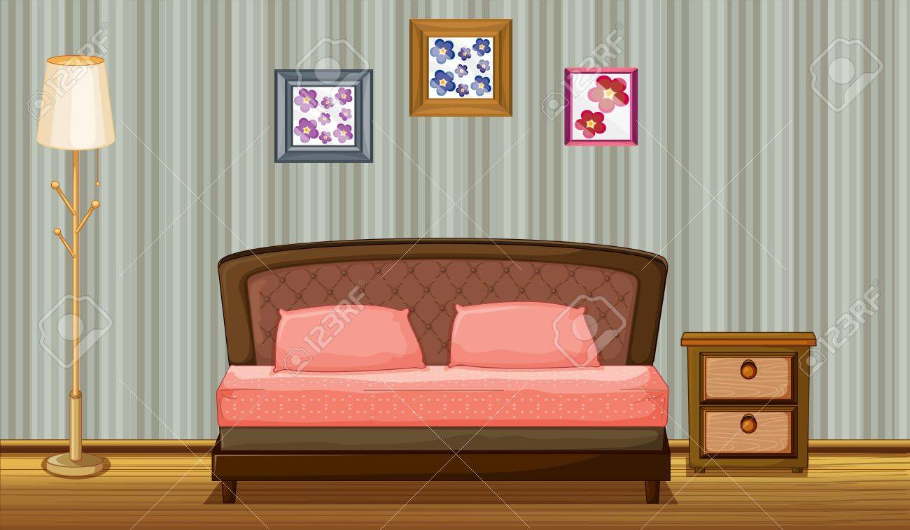 Illustration of a bed and a lamp in a room Stock Vector - 17161648