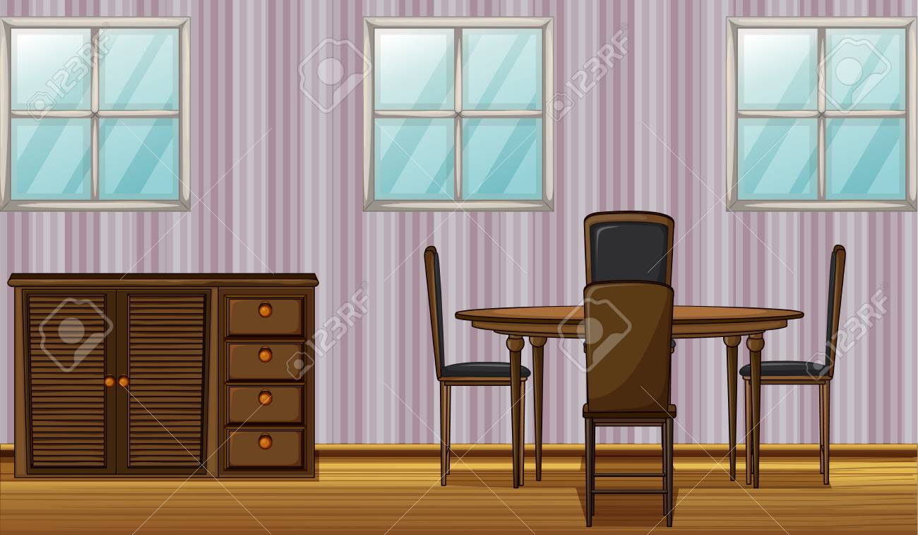 Illustration of a dinning table and wardrobe in a room Stock Vector - 17161729