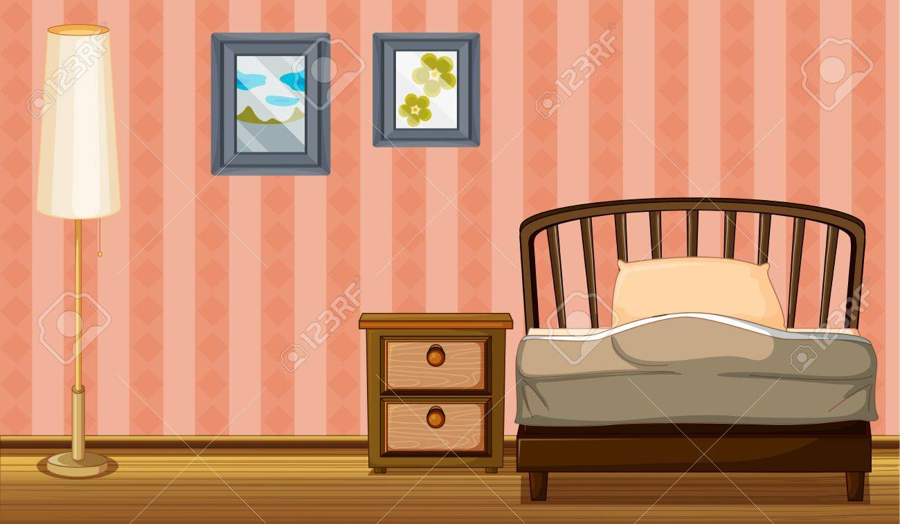 Illustration of a bed and a lamp in a room Stock Vector - 17161619