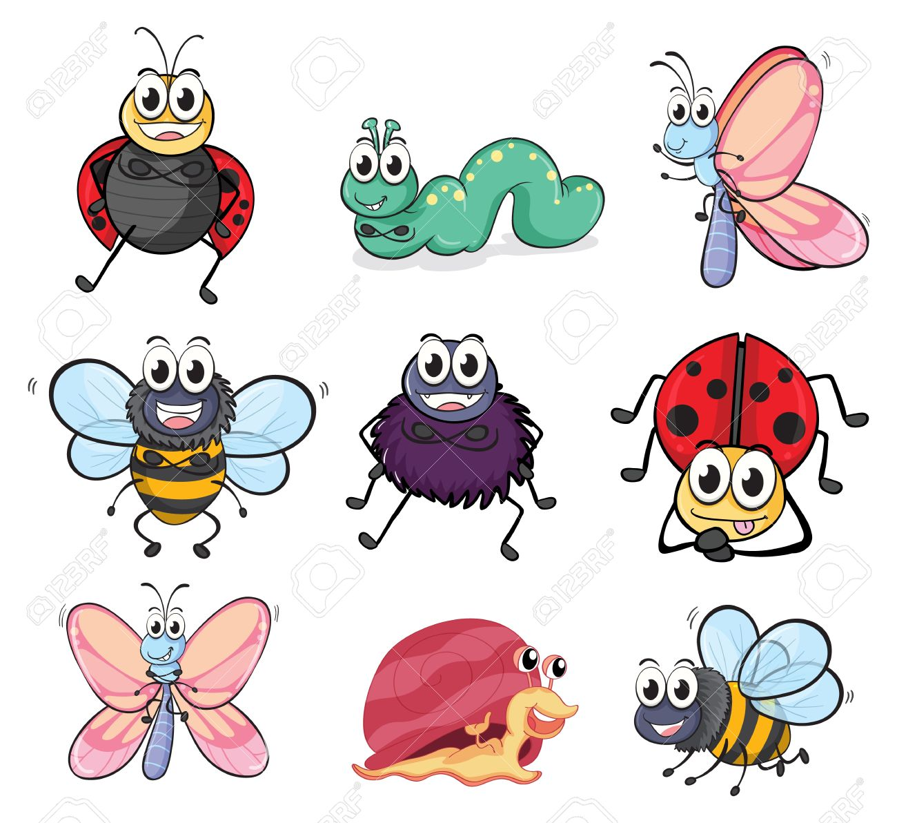 Illustration of various insects and animals on a white background Stock Vector - 17161616