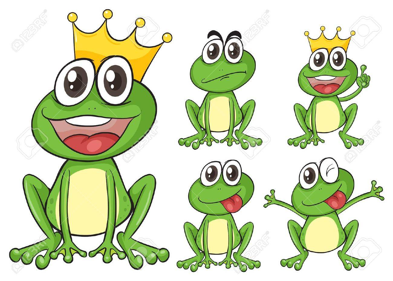Illustration of green frogs on a white background Stock Vector - 17161322