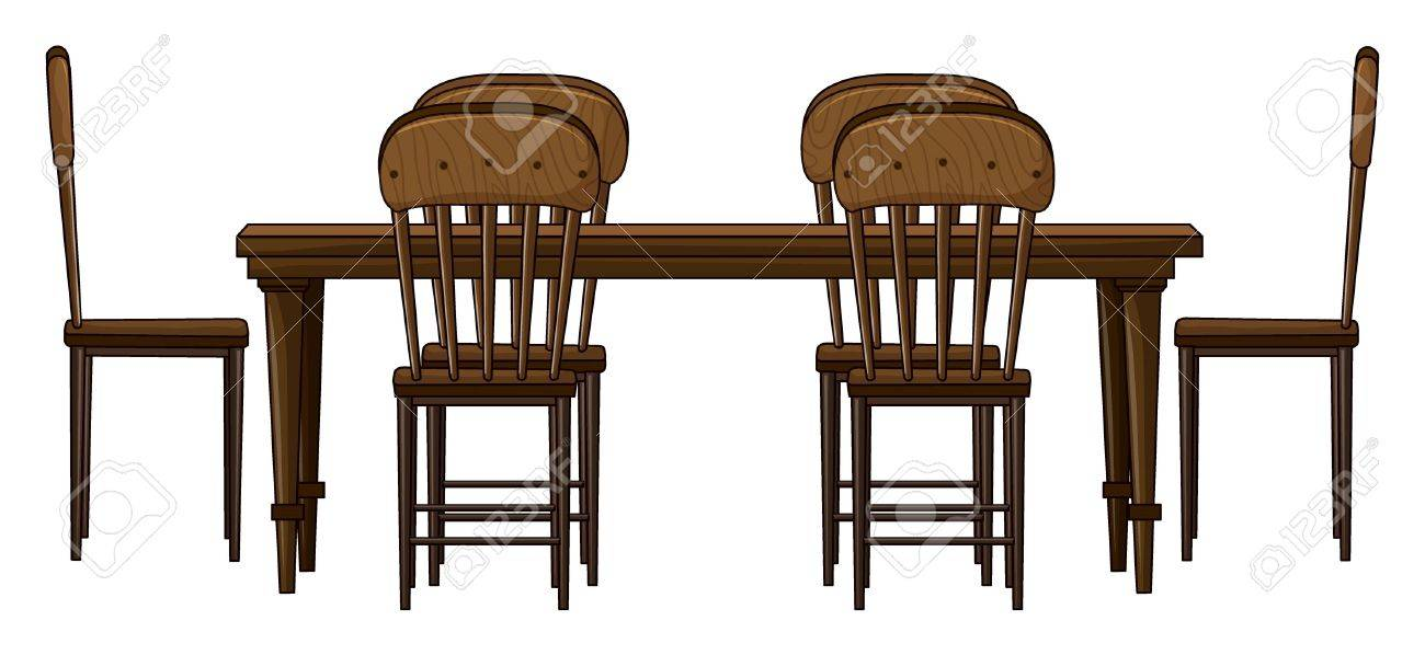 Illustration of a dinning table on a white background Stock Vector - 17161262