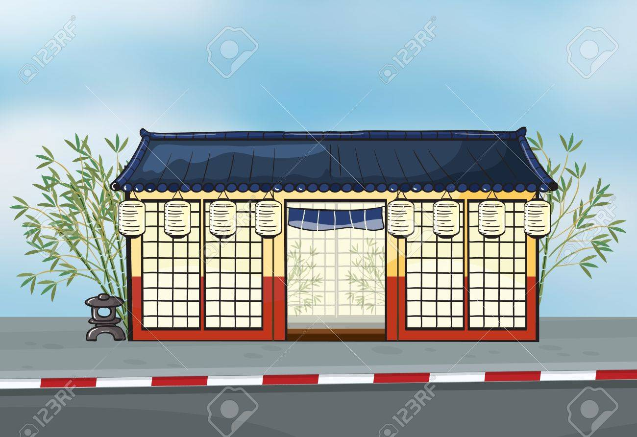 Illustration of a japanese restaurant near a street Stock Vector - 17161734
