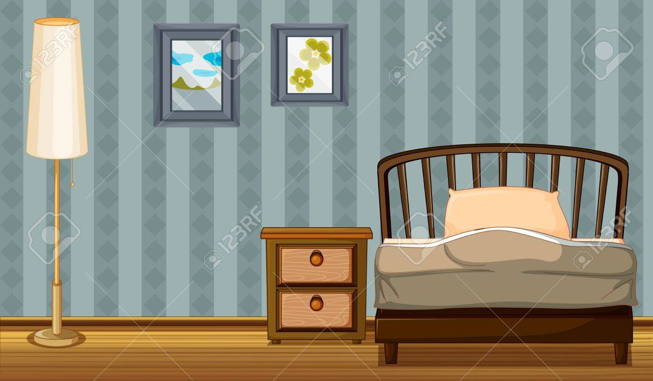 Illustration of a bed and a lamp in a room Stock Vector - 17161620