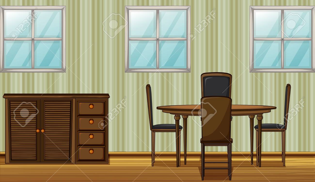 Illustration of a dinning table and wardrobe in a room Stock Vector - 17161695