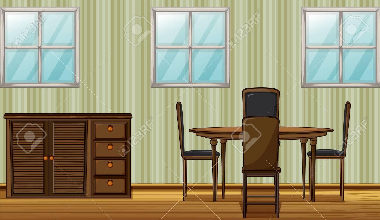 Ilustración De Una Mesa De Comedor Y Un Armario En Una Habitación ...