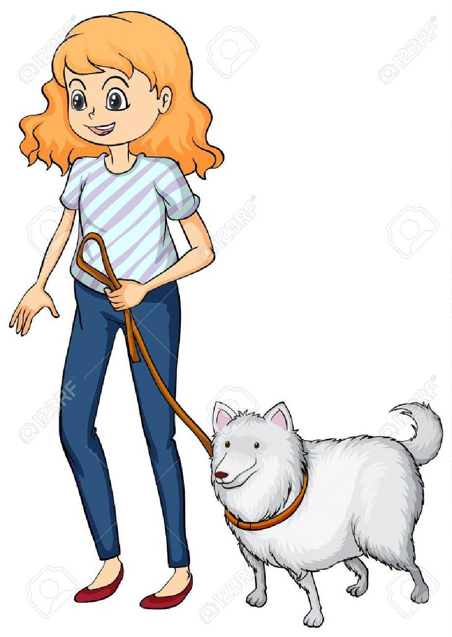 Illustration of a smiling woman and a dog on a white background - 17161364