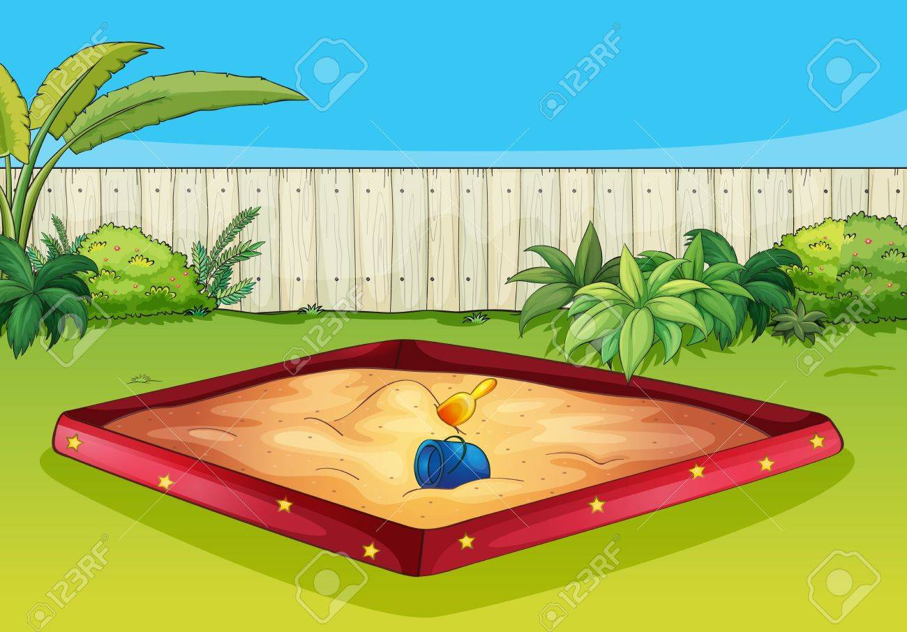 Illustration of  a sandbox in a beautiful garden Stock Vector - 17161745