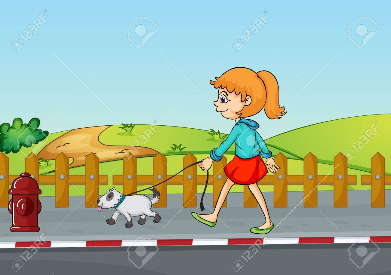 Illustration of a girl walking with her dog in a beautiful nature Stock Vector - 17161607