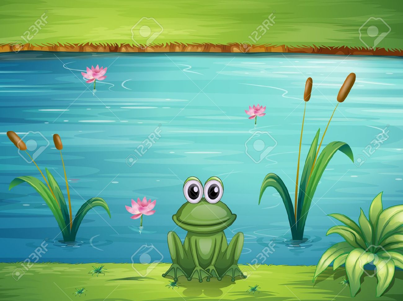 Illustration of a river and a frog in a beautiful landscape Stock Vector - 17161869