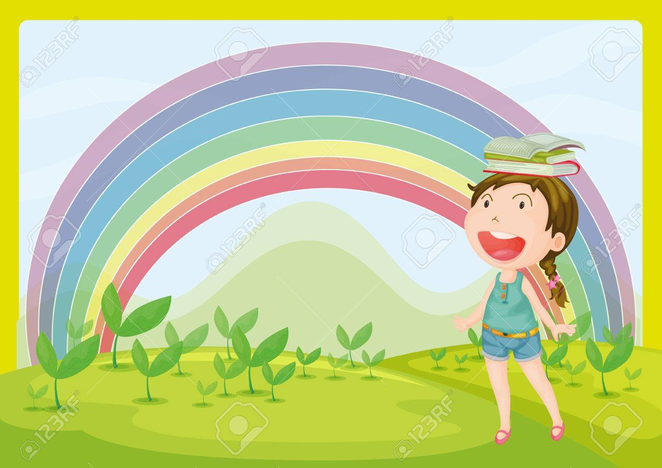 illustration of a smiling and a rainbow in a beautiful nature