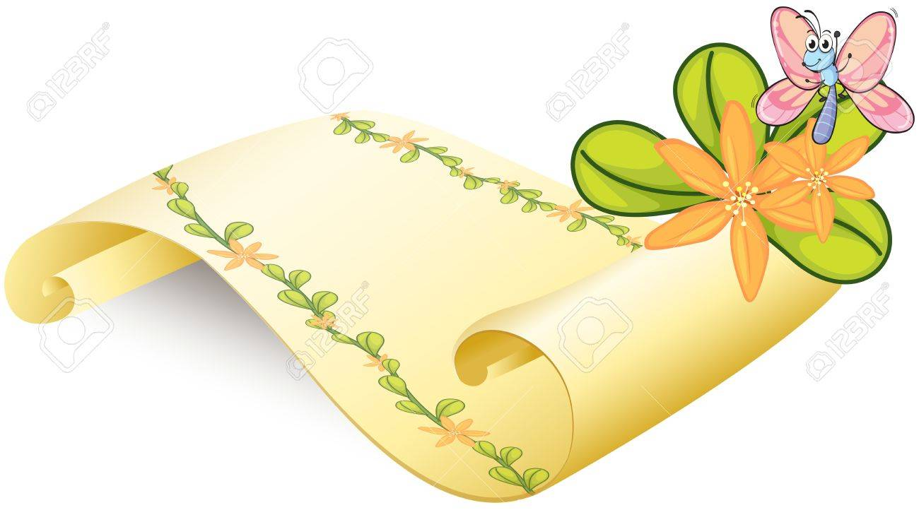 Illustration of a butterfly and a scroll on a white background Stock Vector - 17183455