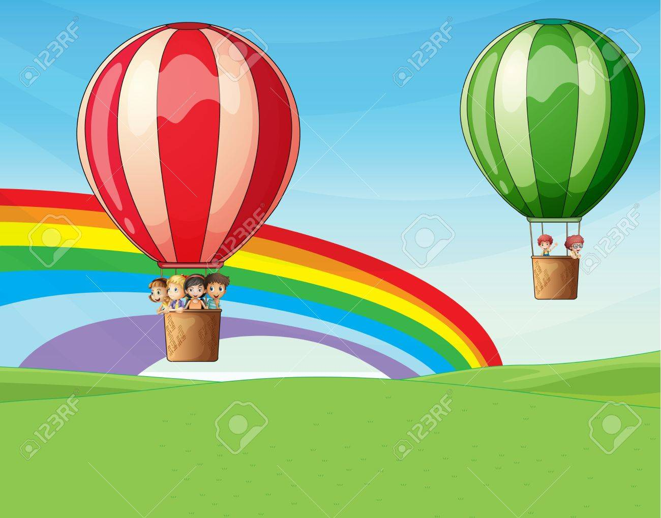 Illustration of two air ballons flying with kids Stock Vector - 17339107