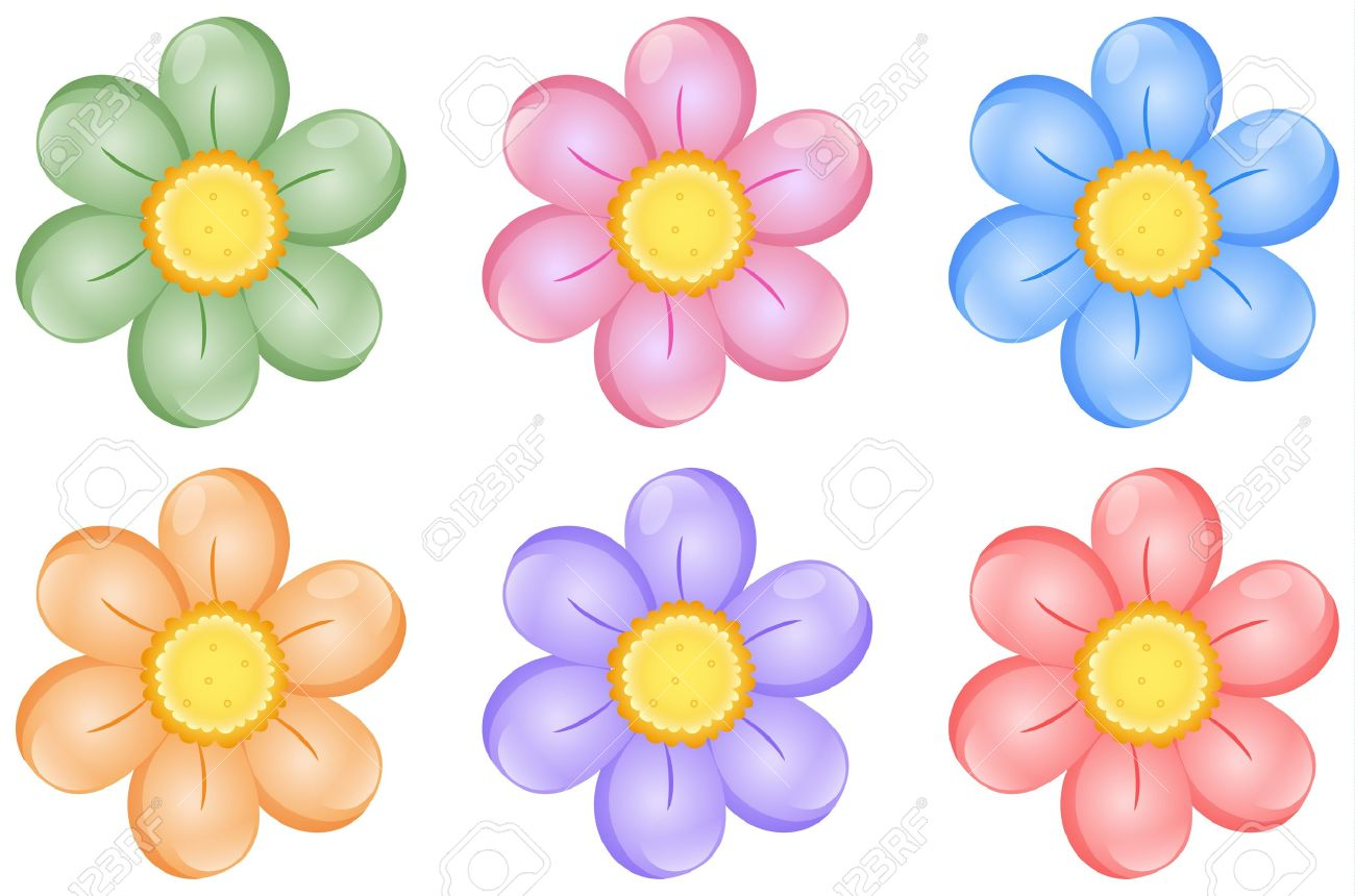 Illustration Of Colorful Flowers On A White Background Royalty