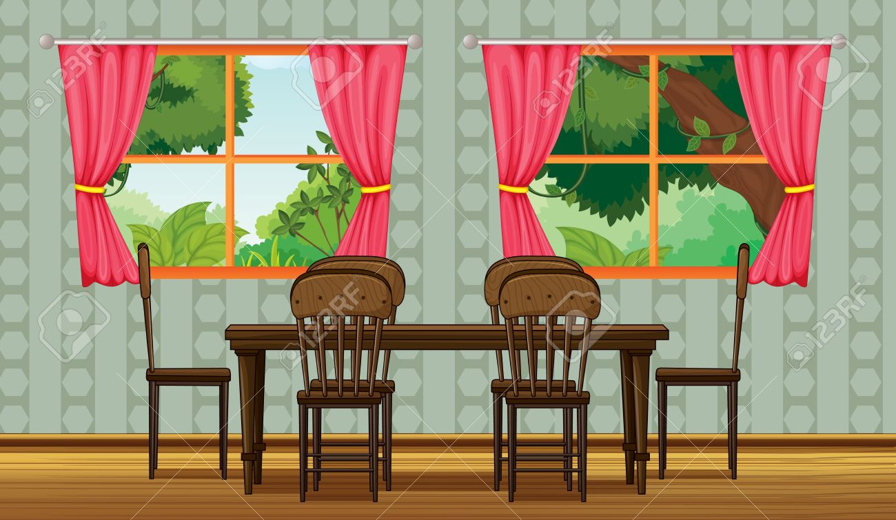 Dining room table and chairs clipart - Dining Table Illustration Of A Colorful Dining Room