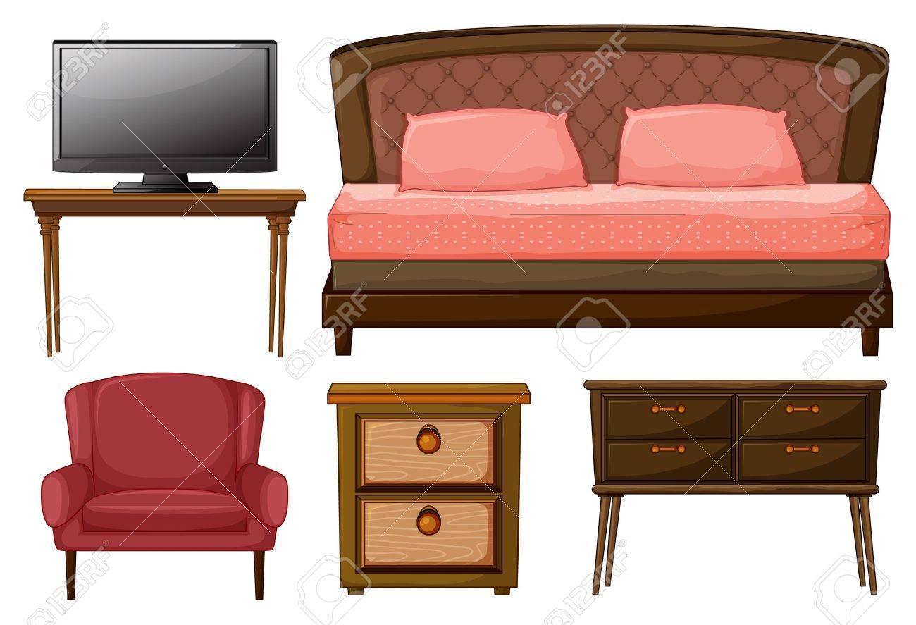 Illustration D Un T L Viseur Sur Une Table Un Lit Double Une  # Table De Televiseur