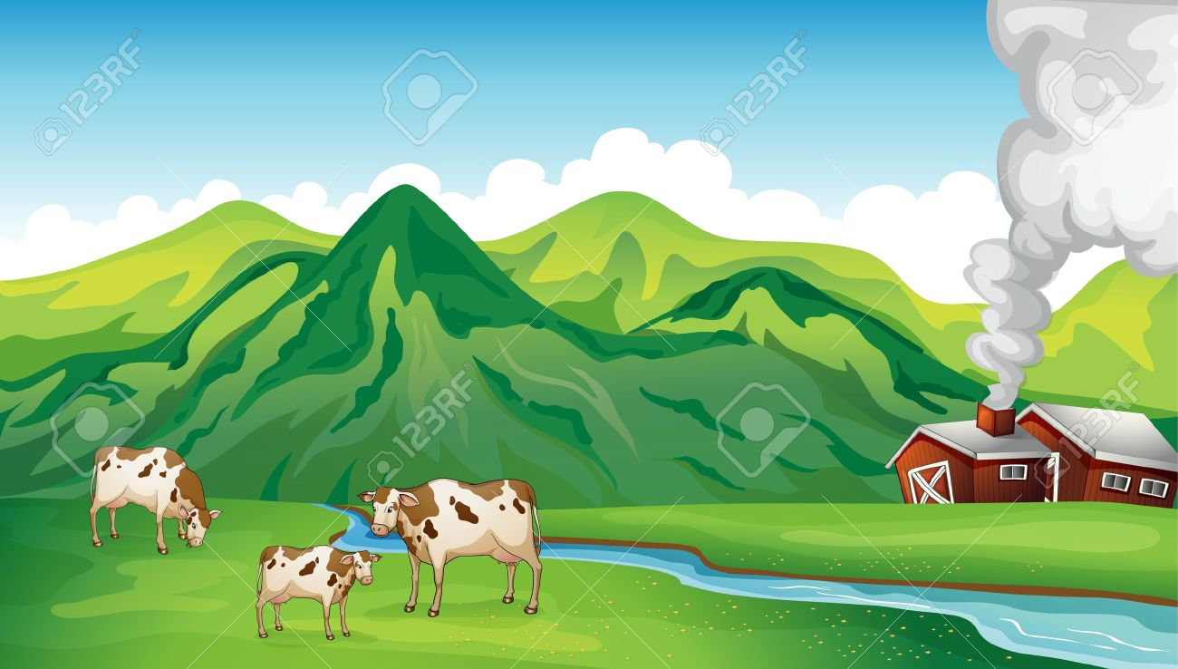 Illustration of a farm house and cows near the mountain Stock Vector - 17339019