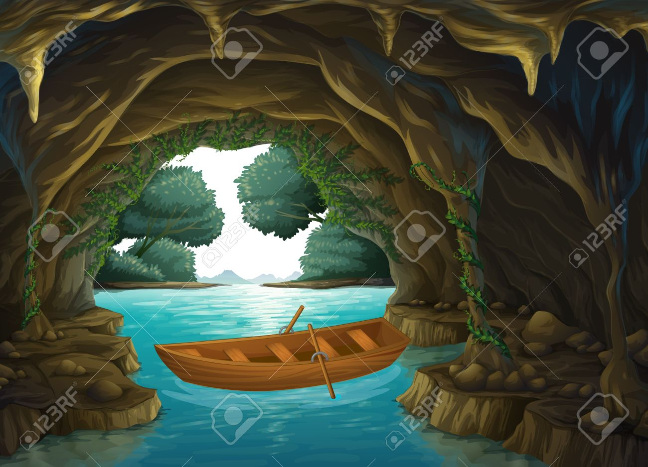Illustration of a boat in the cave Stock Vector - 17339047