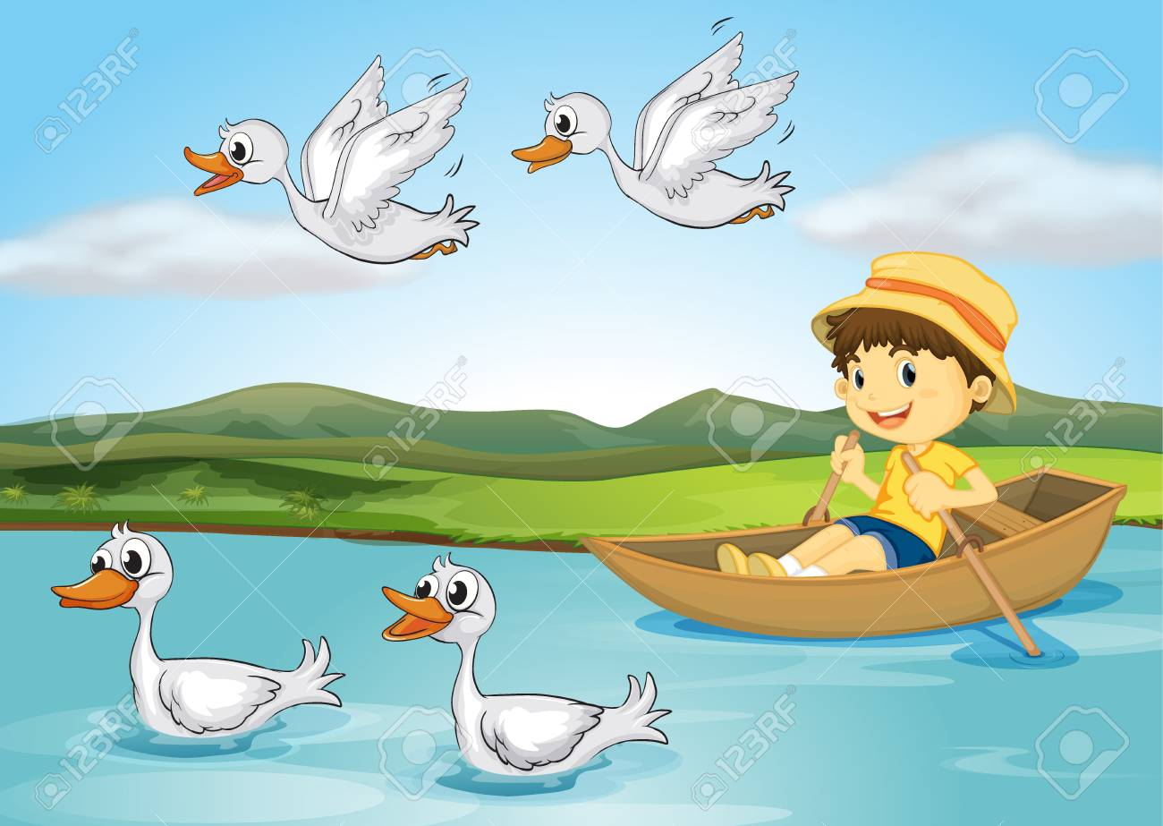 illustration of a kid on a boat and flying and swimming ducks