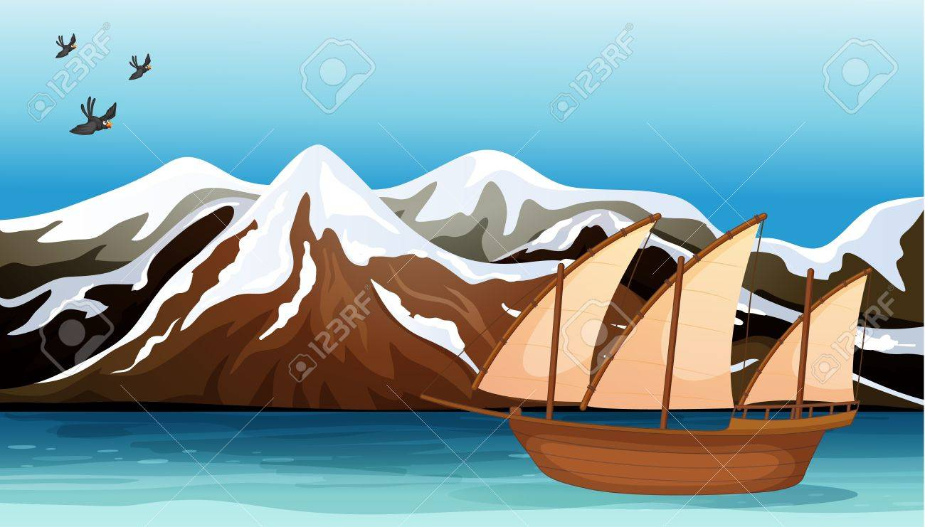 Illustration of a boat floating near the mountain area with sea birds flying Stock Vector - 17338975