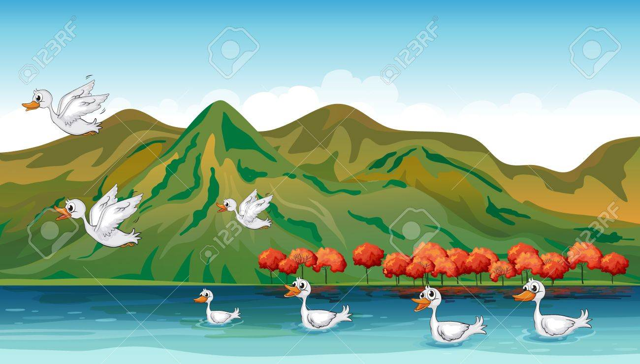 Illustration of ducks searching for foods in the sea Stock Vector - 17339108