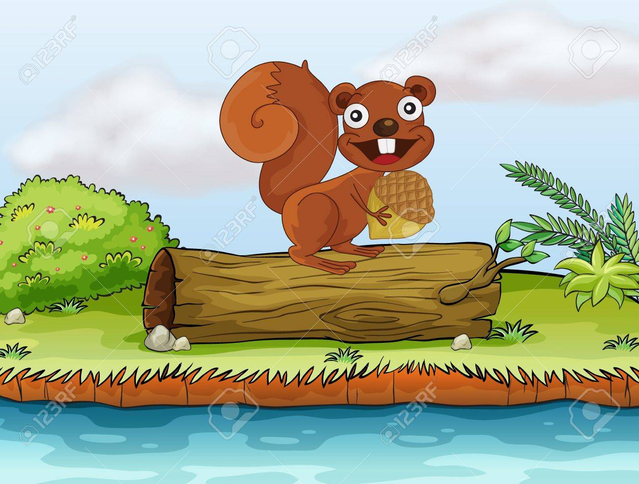 Illustration of a squirrel that loves to eat nuts on the top of a trunk Stock Vector - 17339049