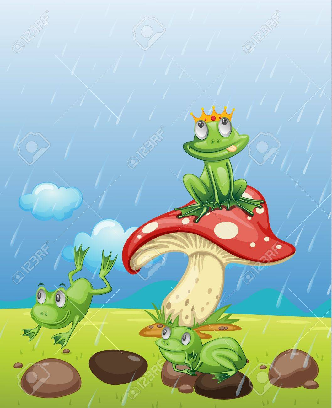 Illustration of frogs playing in the rain Stock Vector - 17339062