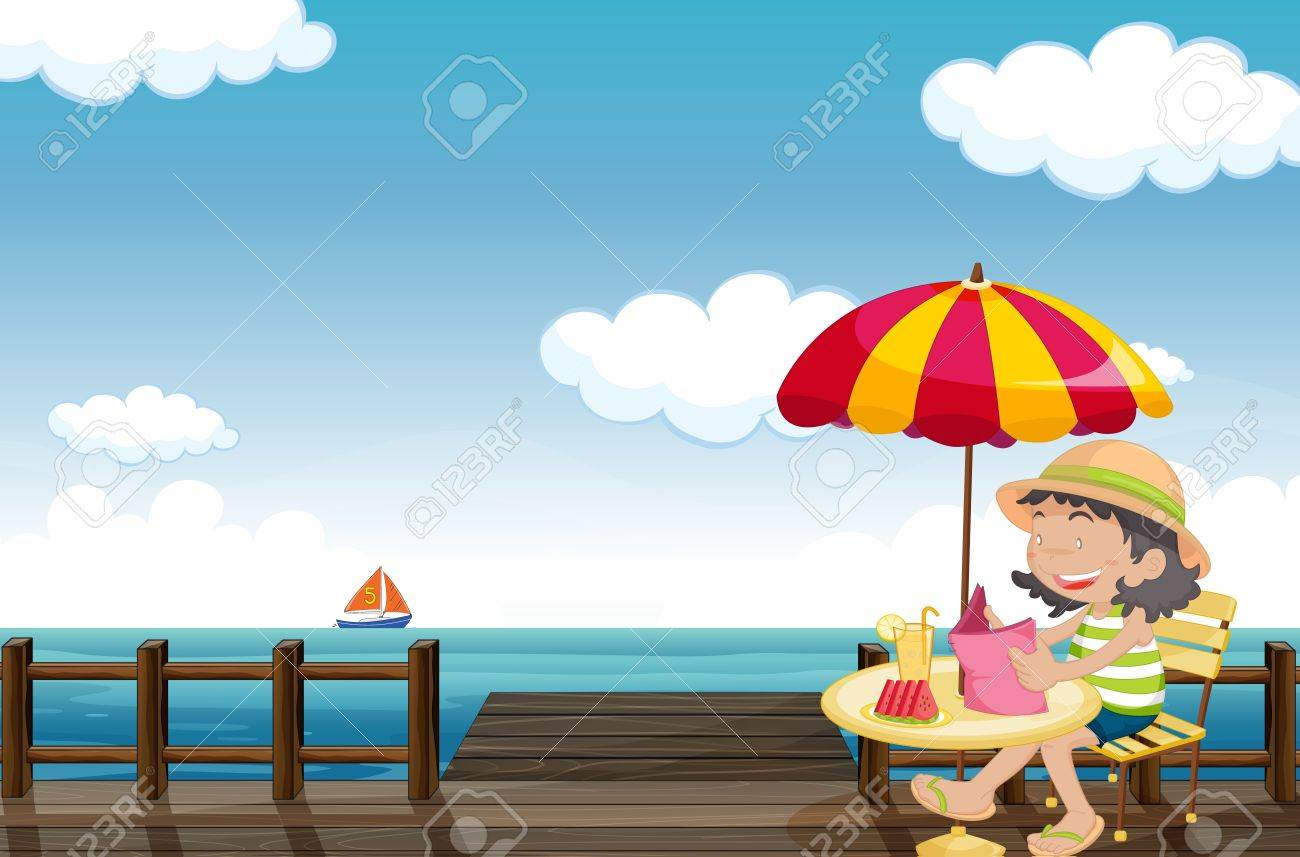 Illustration of a young girl reading at the seaside Stock Vector - 17339021