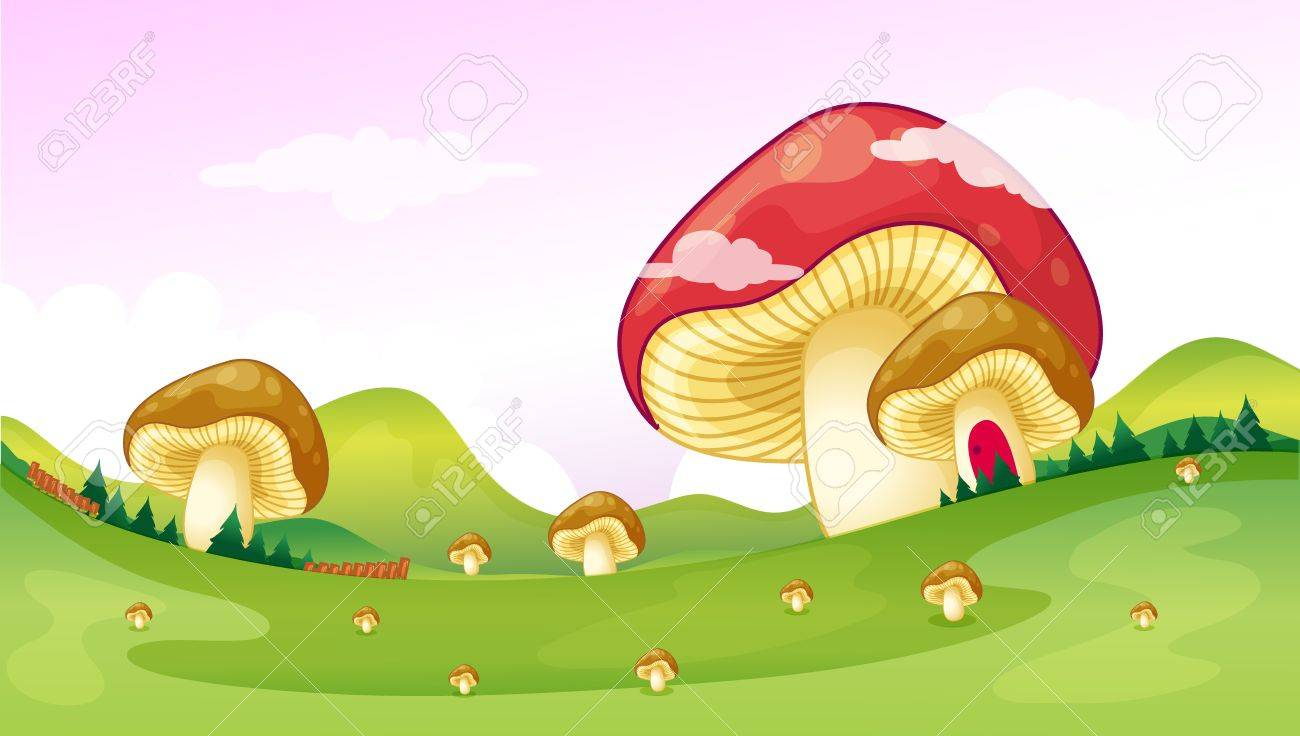 Illustration of big and small mushrooms Stock Vector - 17339028