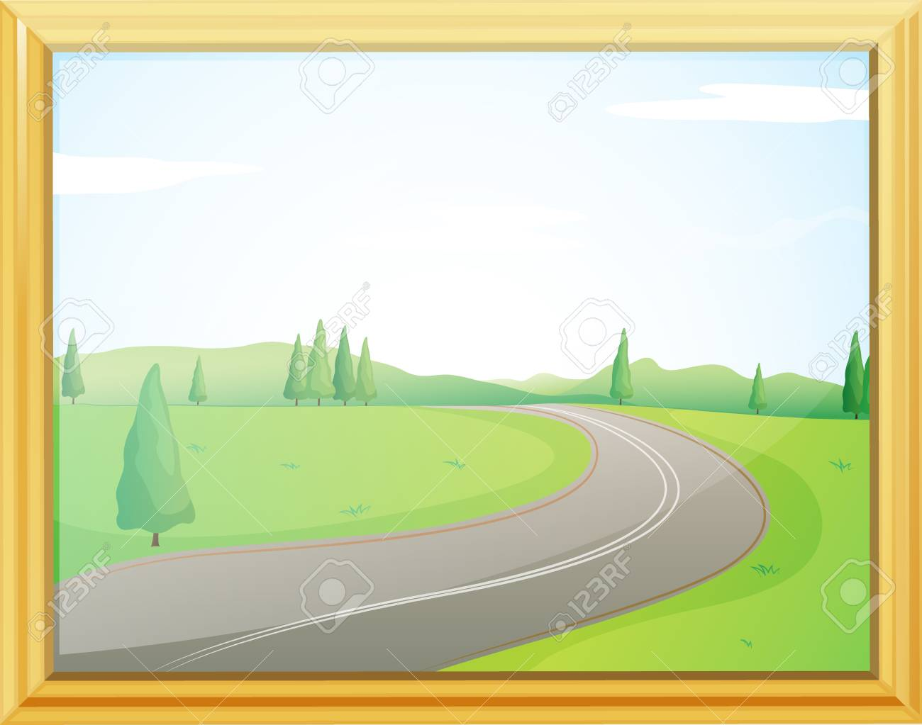 Illustration of a frame of a road with a green view Stock Vector - 17358087