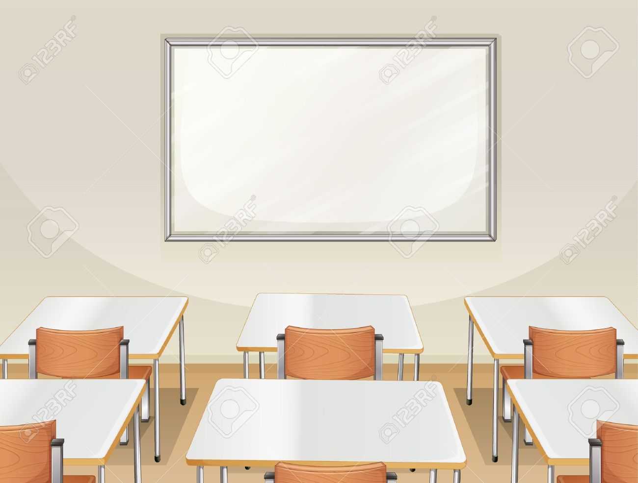 Illustration of an empty classroom with white board, tables and chairs Stock Vector - 17358290