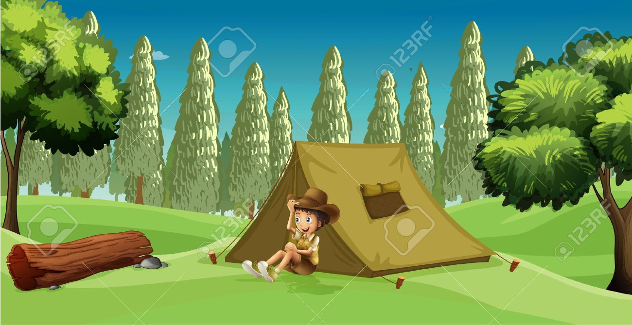 Illustration of a girl scout c&ing in the middle of the forest Stock Vector - 17358227 & Illustration Of A Girl Scout Camping In The Middle Of The Forest ...